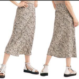 Free People Normani Bias Printed Skirt Grey Combo